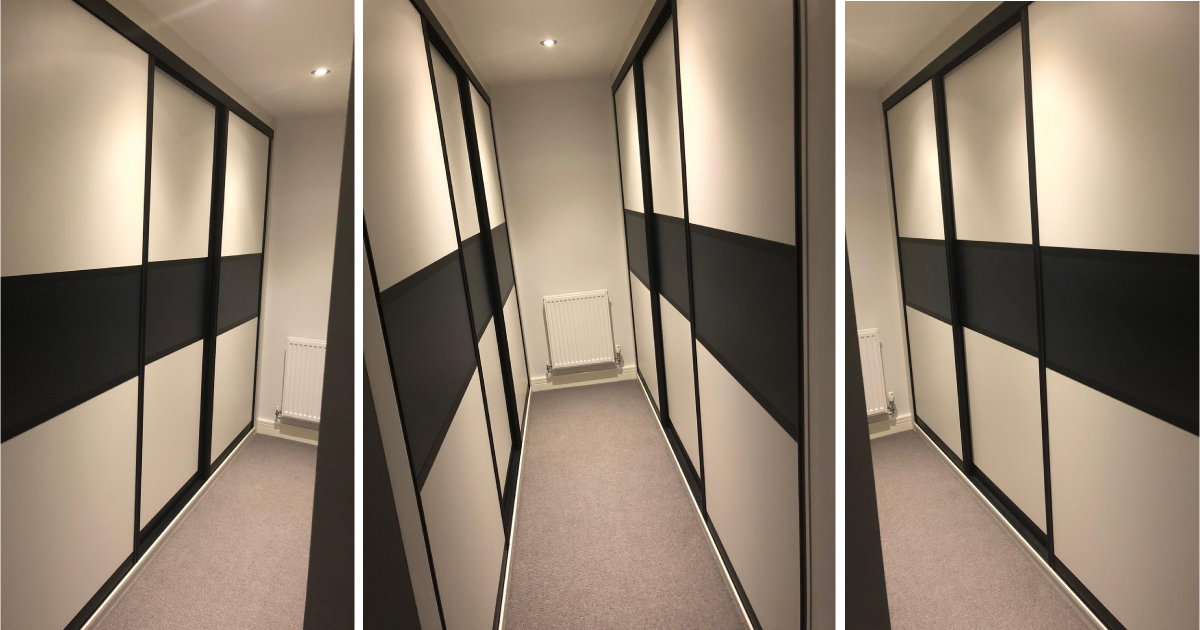 cream and brown sliding doors in a walk in wardrobe